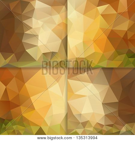 Four autumn geometric backgrounds. Vector background with geometric shapes. Triangle mosaic background. Polygonal design.
