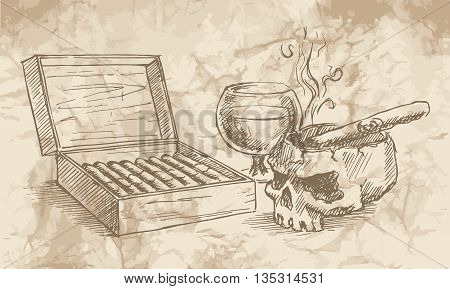 Sketch of the cigars skull with a glass of whiskey and an ashtray on the old paper background.