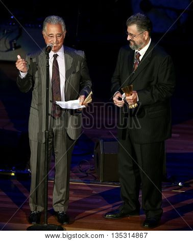 NASHVILLE, TN-SEP 1: Dane & Del Bryant accept the Poet's Award on behalf of their parents Felice &  Boudleaux Bryant at the ACM Honors at Ryman Auditorium on September 1, 2015 in Nashville, Tennessee.