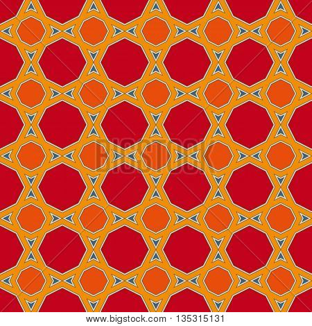 Red and Orange Seamless Geometric Mosaic Pattern