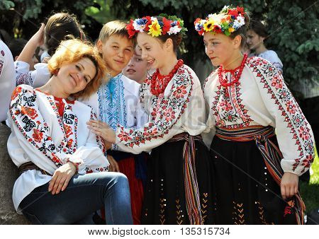 CHORTKIV - Ternopil - Ukraine - May 22 2014 World Day embroidered - international festival which is intended to preserve the ancestral traditions of creation and wearing embroidered ethnic Ukrainian clothes. Date - every year on the third Thursday of May