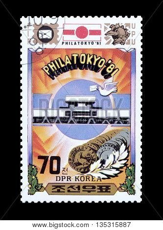 NORTH KOREA - CIRCA 1981 : Cancelled postage stamp printed by North Korea, that promotes International Stamp Exhibition in Tokyo.