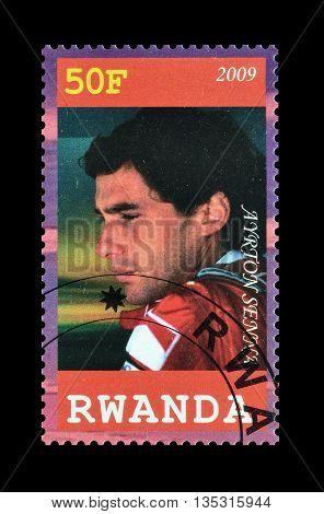 RWANDA - CIRCA 2009 : Cancelled postage stamp printed by Rwanda, that shows Ayrton Senna.
