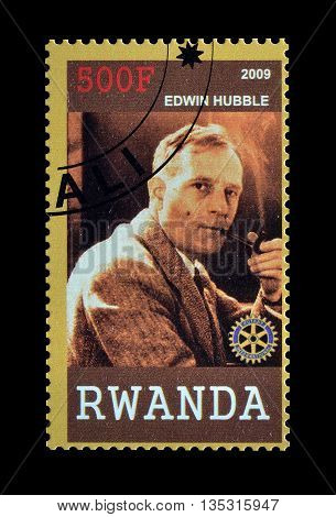 RWANDA - CIRCA 2009 : Cancelled postage stamp printed by Rwanda, that shows Edwin Hubble.