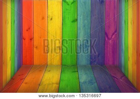 stand from wooden boards surrounded by multicolored decorative boards