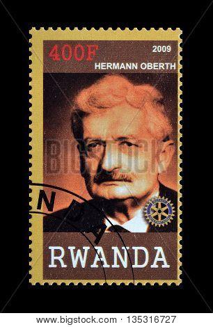 RWANDA - CIRCA 2009 : Cancelled postage stamp printed by Rwanda, that shows Hermann Oberth.