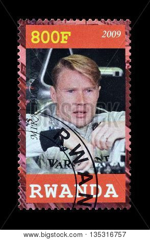 RWANDA - CIRCA 2009 : Cancelled postage stamp printed by Rwanda, that shows Mika Hakinen.