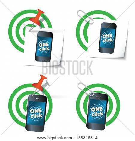 Four targets and smart phone with the words one click