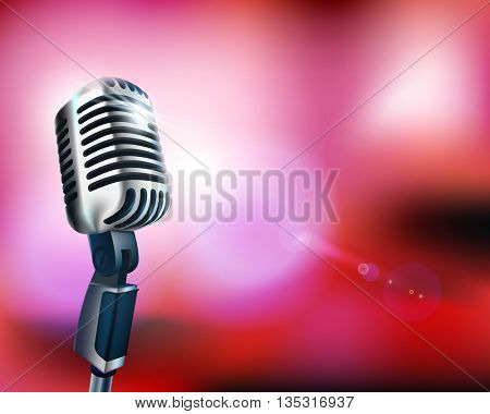 Stage with microphone before the concert. Vector illustration.