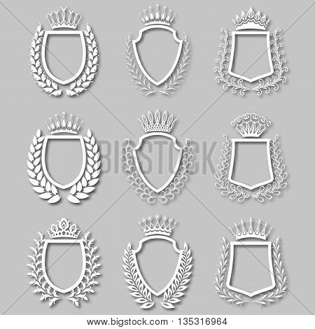 Set of white laurel wreaths, shields, crowns with shadows. Royal heraldic emblem, icon, symbol, label, badges, blazons, logo for web, page design. Floral elements in vintage style. Illustration EPS 10