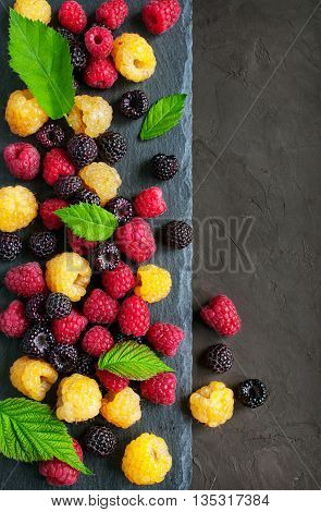 Colored Rasspberries: Yellow, Red And Black