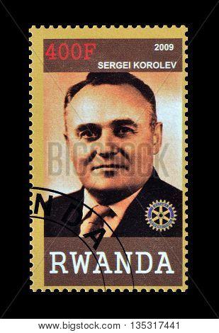 RWANDA - CIRCA 2009 : Cancelled postage stamp printed by Rwanda, that shows Sergei Korolev.