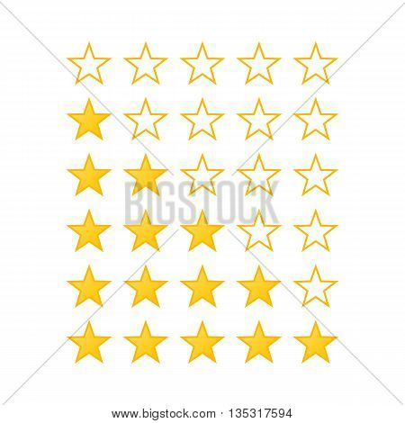 Simple Stars Rating. Yellow Shapes on White Background