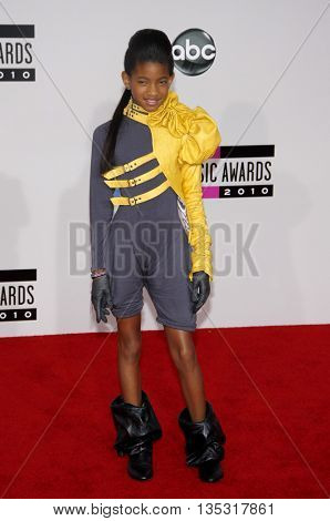Willow Smith at the 2010 American Music Awards held at the Nokia Theatre L.A. Live in Los Angeles, USA on November 21, 2010.