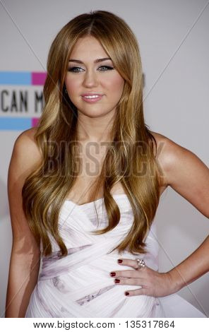 Miley Cyrus at the 2010 American Music Awards held at the Nokia Theatre L.A. Live in Los Angeles, USA on November 21, 2010.