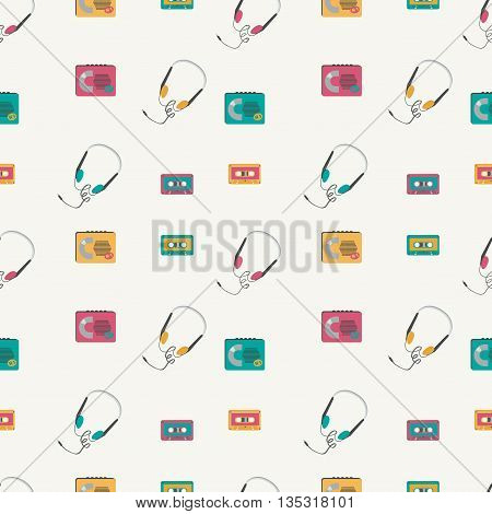 Seamless pattern with retro audio players, tapes, headphones. Vector illustration.