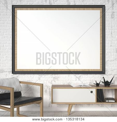 Blank picture frame with leather armchair and origami crane. Mock up poster. 3D rendering illustration