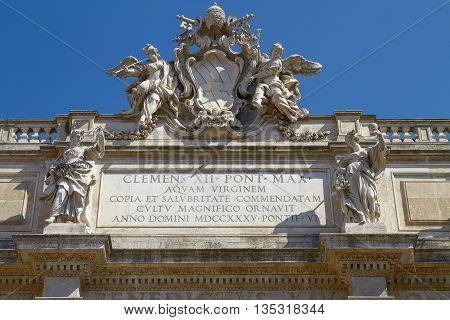 Roof Sculpture of Trevi Fountain on Piazza di Trevi in Rome Italy