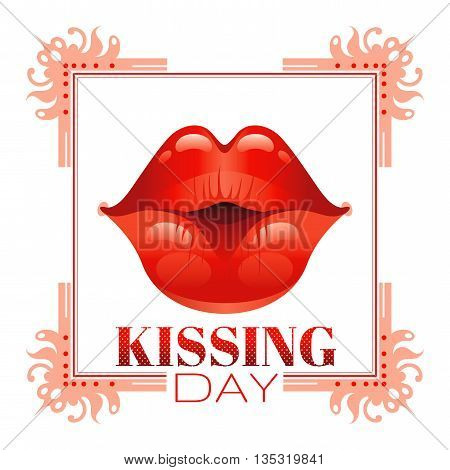 Sexy kissing woman lips with red lipstick on white background. Icon with text and vintage frame for greeting card design. Beautiful close up kiss vector illustration