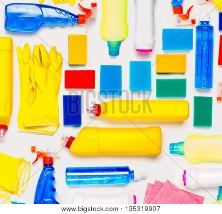 Cleaning supplies on white background.