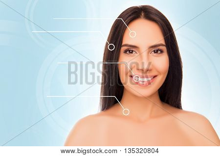 Close-up Portrait Of Happy Cheerful Young Brunette With Perfect Face, Hair, Teeth And Skin