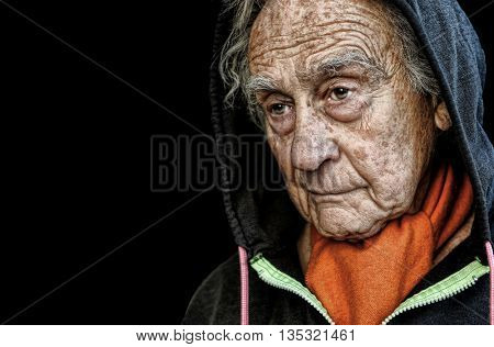 Nice emotional Portrait Image Of a sad senior Man