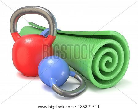 Green fitness mat and kettle bells weights. 3D render illustration isolated on white background