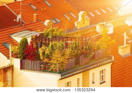 View to the colorful roofs and houses of Vysegrad in Prague, Czech Republic at sunny autumn - aerial image, travel seasonal background