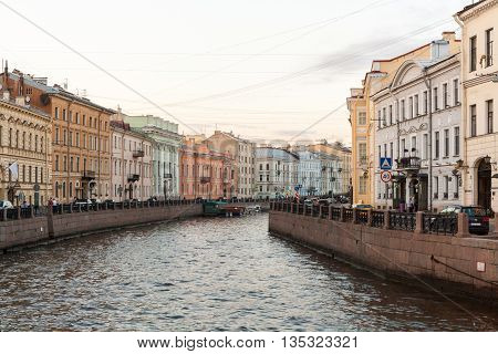 View of the embankment of the river Moika in St. Petersburg