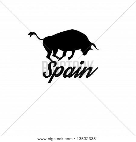 Beautiful icon with the Spanish flag and the inscription Spain with the bull