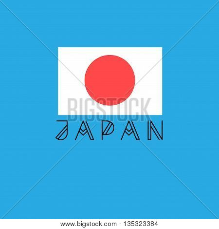 Beautiful vector icon with the word Japan with the flag of Japan