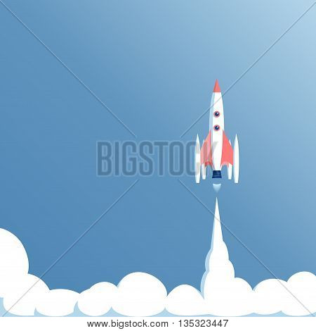 vector illustration launch spaceship in a blue sky spacecraft takeoff startup concept