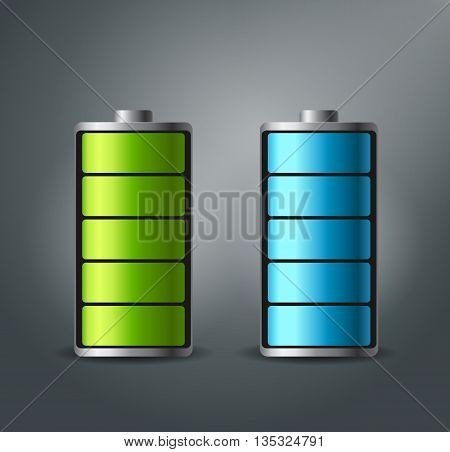 Fully charged battery smartphone - vector illustration. The blue and green colors.