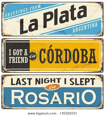 Vintage tin sign collection with Argentina city names. Places to visit and remember.