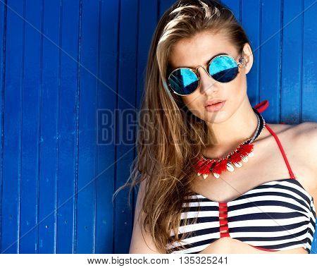 Fashionable Girl In Bikini, Summer.