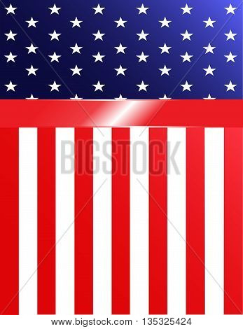 Brightly-colored American flag banner background with ribbon.