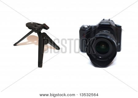 DSLR camera with tripod