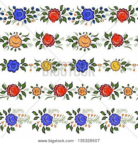 Seamless Folk borders. Isolated colorful flowers and leafs on white bacground.