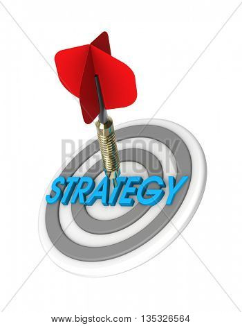 Dart hitting target. Strategy concept. 3D illustration.