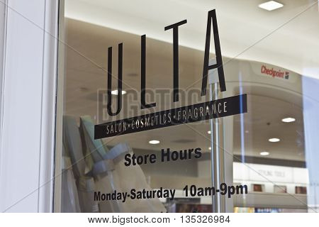 Indianapolis - Circa June 2016: Ulta Salon Cosmetics & Fragrance Retail Location. Ulta Provides Beauty Products and a Salon III