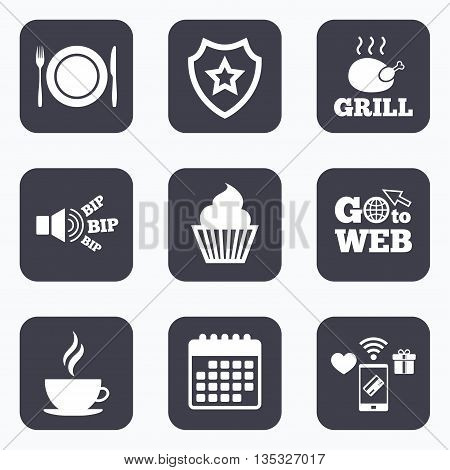 Mobile payments, wifi and calendar icons. Food and drink icons. Muffin cupcake symbol. Plate dish with fork and knife sign. Hot coffee cup. Go to web symbol.