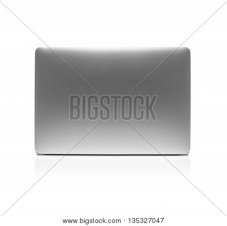 Laptop isolated on white background with clipping path. Back view.