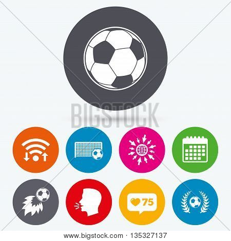 Wifi, like counter and calendar icons. Football icons. Soccer ball sport sign. Goalkeeper gate symbol. Winner award laurel wreath. Goalscorer fireball. Human talk, go to web.