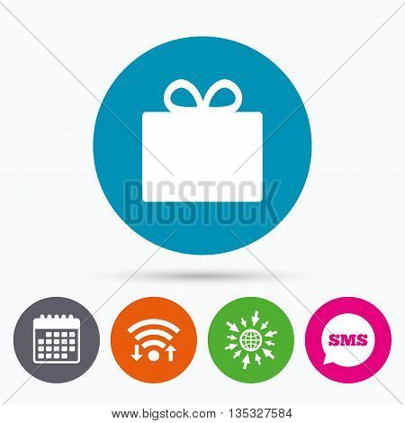 Wifi, Sms and calendar icons. Gift box sign icon. Present symbol. Go to web globe.