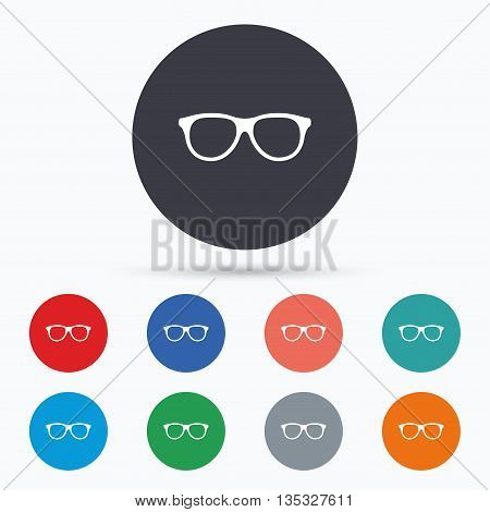 Retro glasses sign icon. Eyeglass frame symbol. Flat glasses icon. Simple design glasses symbol. Glasses graphic element. Circle buttons with glasses icon. Vector