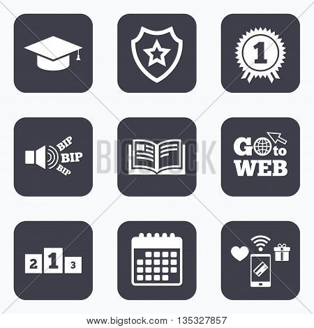 Mobile payments, wifi and calendar icons. Graduation icons. Graduation student cap sign. Education book symbol. First place award. Winners podium. Go to web symbol.