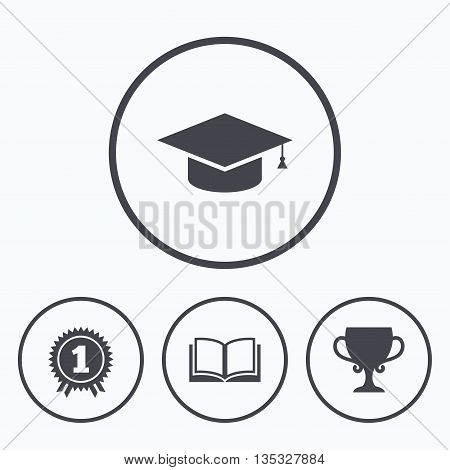 Graduation icons. Graduation student cap sign. Education book symbol. First place award. Winners cup. Icons in circles.
