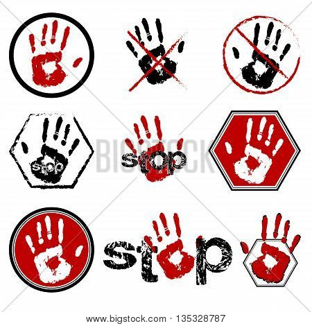 Sign stop with open hand icon set in different variants in red and black colors. Open palm signal collection. Isolated on white. Vector illustration