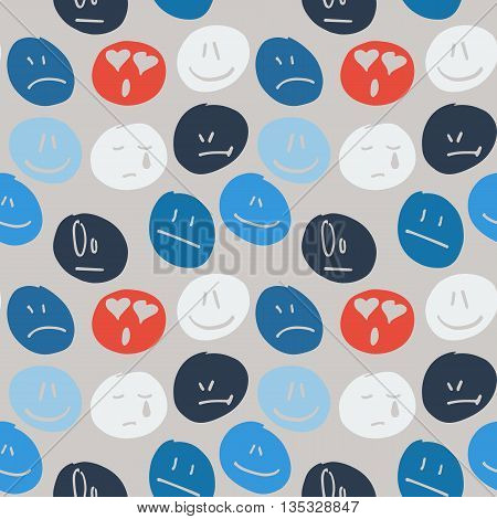 Vector seamless background with hand drawn emoticons with different expressions.