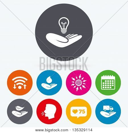 Wifi, like counter and calendar icons. Helping hands icons. Intellectual property insurance symbol. Delivery truck sign. Save nature leaf and water drop. Human talk, go to web.